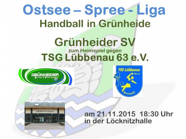 Handball Grünheide_Heimspiel_TSG Lübbenau 21.11.2015