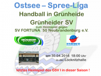 Handball Grünheide_Heim gegen SV Fortuna 50 Neubrandenburg 30.04.2016 18.00