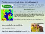 Physio (Unterstützung) für die Saison 2015/16 gesucht