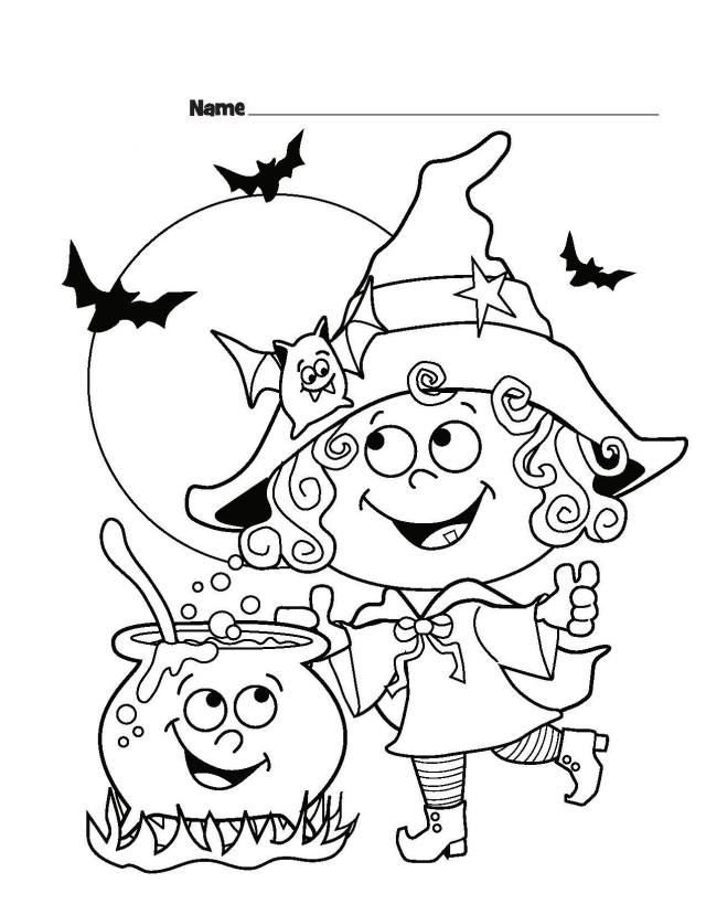 halloween-bilder-ausmalen-schulkinder-hexe-fledermause