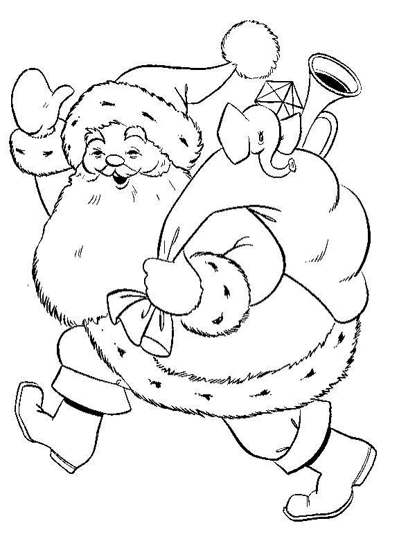 weihnachtsmann mit sack zum ausmalen